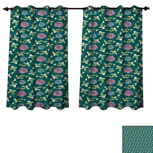 Fish Blackout Thermal Backed Curtains for Living Room Asian Traditional Carp Koi Lily Pattern Japanese Traditional Motifs Marine Customized Curtains Teal Coral Pale Green W63 x L45 - Japanese Lily Spider