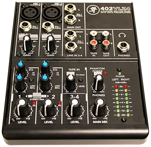 Mackie 402VLZ4, 4-channel Ultra Compact Mixer with High Quality Onyx - Gear Cable Sealed