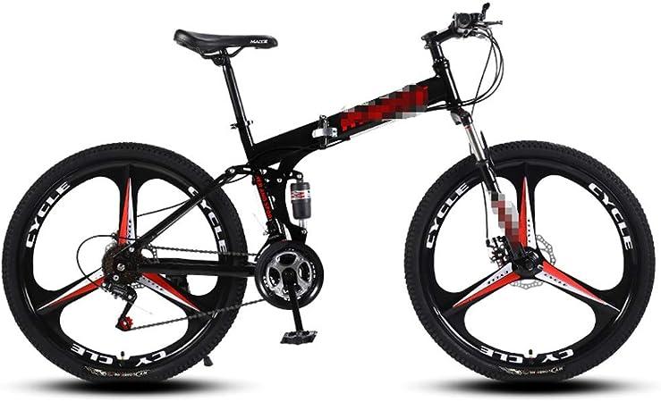 DLT 3 Spoke montaña Bicicleta Plegable Ruedas de Bicicletas con 24 Pulgadas, 24 Bicicletas MTB Suspension Velocidad Robusta Acero al Carbono de Alta fotograma Completo (Color : Negro): Amazon.es: Hogar