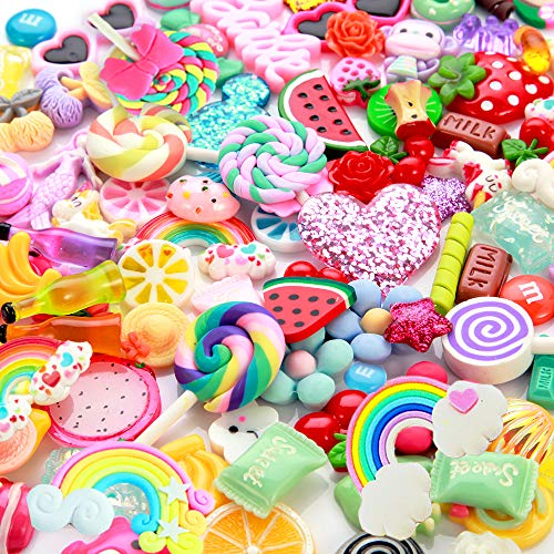 Slime Charms Cute Set- 100pcs Charms for Slime Assorted Fruits Candy Sweets Flatback Resin Cabochons for Craft Making, Ornament Scrapbooking DIY Crafts -