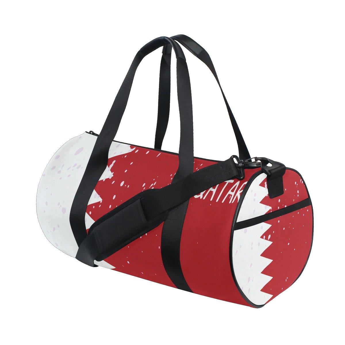 Distressed Qatar Flag Travel Duffel Shoulder Bag ,Sports Gym Fitness Bags