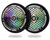 120mm Honeycore Pro Stunt Trick Kick Scooter Wheels (Pair) - Fast Hollowcore - Push Scooter Tires - 120mm Freestyle Speed Urethane - Fit Most Setups - 24mm x 120mm - Bearings (Black/Rocket Fuel)