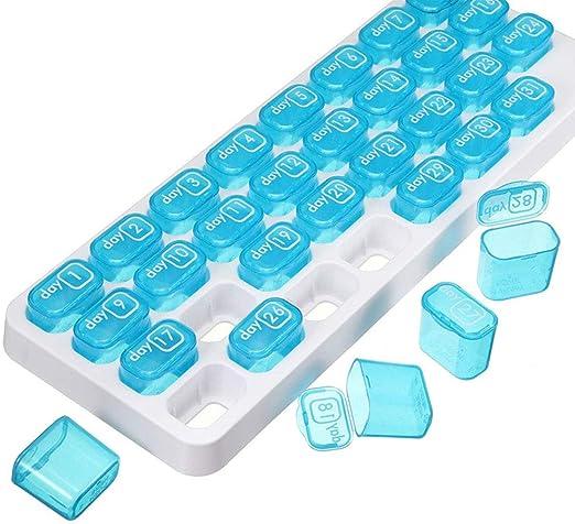 Caja de pastillas Caja portátil de píldoras de 31 días Organizador ...