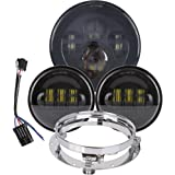TRUCKMALL 7 inch Daymaker LED Headlight DOT Kit Set Fog Passing Lights for Harley Davidson Ultra Classic Electra Street Glide Road King Heritage Softail Deluxe Slim Fatboy Motorcycle Headlamps Black