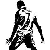 Ouken Cristiano Ronaldo CR7 Wall Sticker Amovible Sports Autocollant célébrant Le Papier Peint 70X90cm