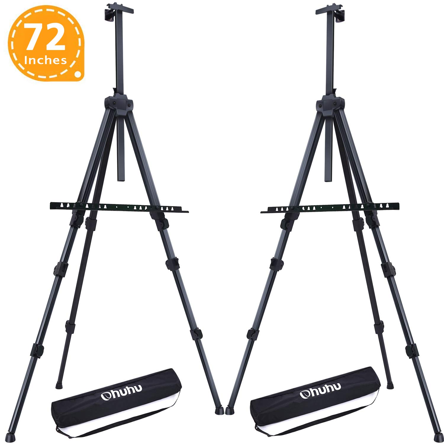 Display Easel Stand, Ohuhu 72'' Aluminum Metal Tripod Field Easel with Bag for Table-Top/Floor, 2-Pack Black Art Easels W/Adjustable Height from 25-72'' for Poster, Paint Back to School by Ohuhu