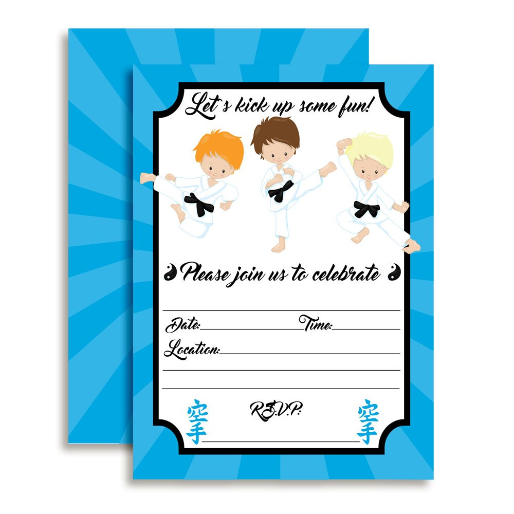 Karate, Tae Kwon Do, Martial Arts Boys Birthday Party Invitations, Ten 5''x7'' Fill In Cards with 10 White Envelopes by AmandaCreation