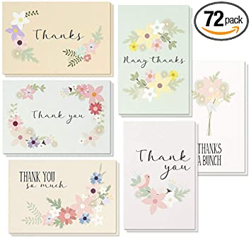 amazon com thank you postcards 72 count thank you note cards