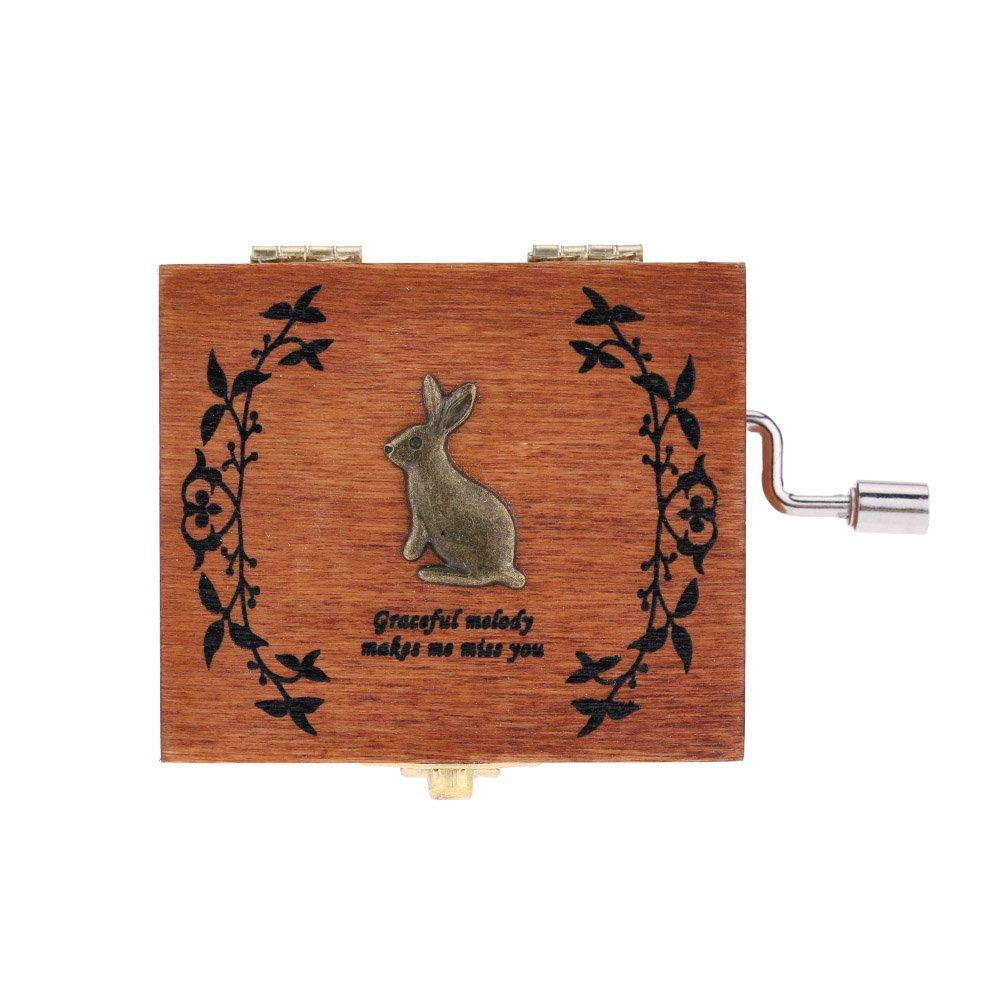 Andoer Retro in legno Musical Box Music Box della manovella squisita fattura 4 Patterns per l'opzione