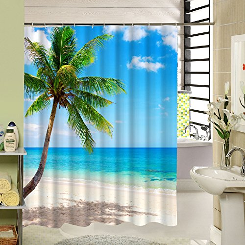Beach Shower Curtain Palm Tree Decorative Theme,3d Polyester Fabric Pringing Tropical Design with 12 Plastic Hooks,72x72inch, Green Blue (3d Design Plastic)