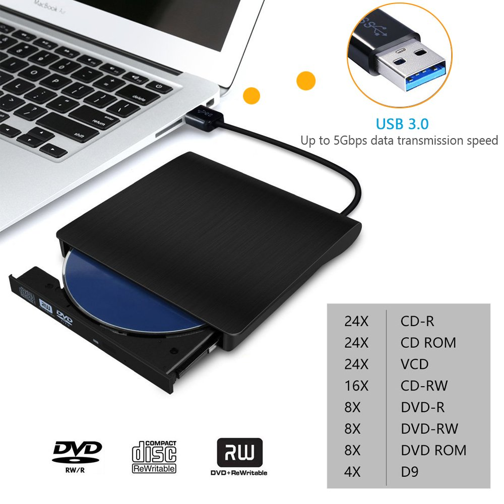 External CD Drive, Devancy Ultra-Slim USB 3.0 External DVD Drive, CD/DVD-RW Drive, DVD/CD Rom Rewriter Burner Writer, High Speed Data Transfer for Laptop Desktops Win 7, 8, 10, Mac OS and Linux OS by Devancy (Image #3)