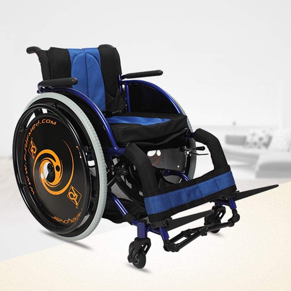 YUXINCAI Deportes Plegable Silla De Ruedas Silla De Ruedas Ultraligera Deportes De Ocio para Personas con Discapacidad,Azul