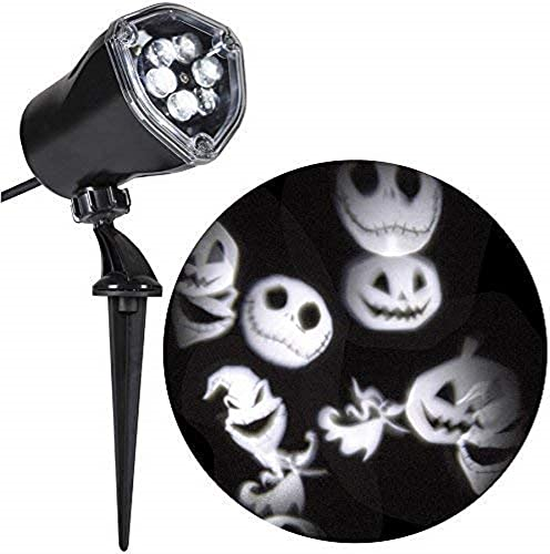 Gemmy Disney Jack Skellington Nightmare Before Christmas White Led Whirl-a-Motion Halloween Outdoor Stake Light Projector