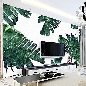 chlwx fotografía la papel pintado de estilo europeo pintados a mano de hojas de Banana vegetales a hoja verde TV pared de fondo Mural papel pintado decorativo: Amazon.es: Bricolaje y herramientas