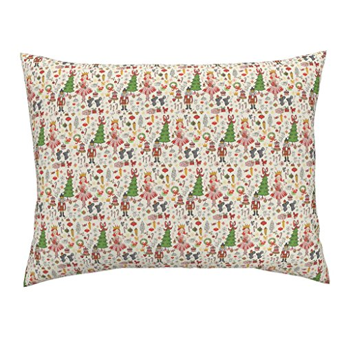 Roostery Holiday Nutcracker Illustration Christmas Ballerina Candy Mice Standard Knife Edge Pillow Sham Sweet Dreams - Small by Fable Design 100% Cotton Sateen