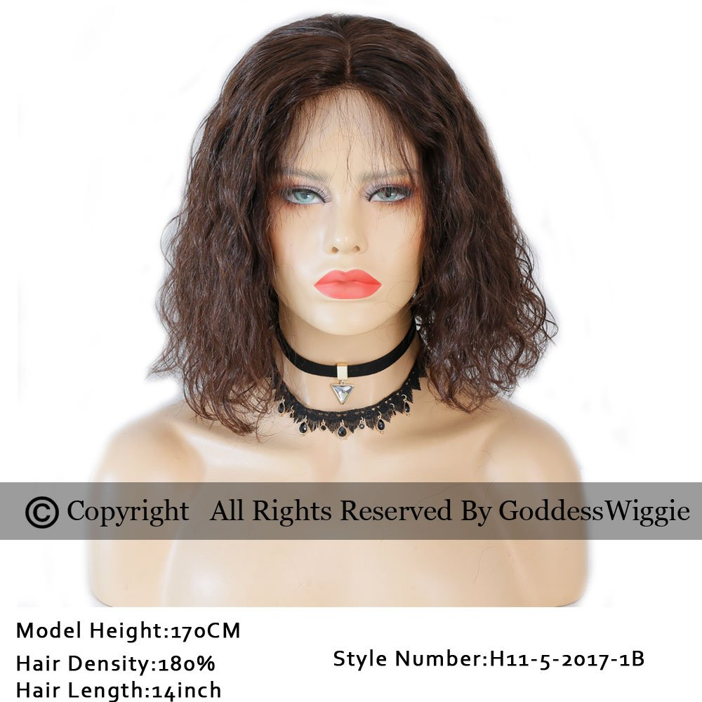 Human Hair Brown Bob Small Curly Short Wig Lace Front Bob Cut Wig With Baby Hair For Woman (12inch 180%)
