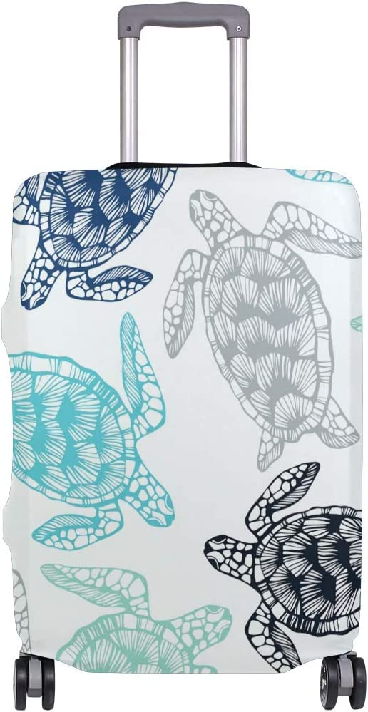 Travel Luggage Cover Blue Green Black Grey Sea Turtles Pattern Suitcase Protector