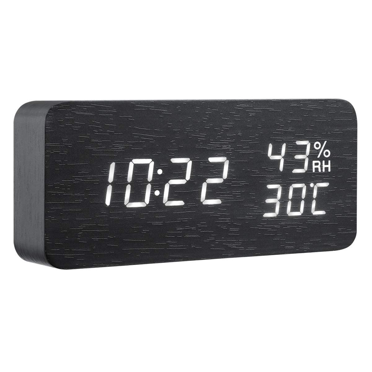 AMIR Alarm Clock, Wooden Digital Multi-Function Modern Cube LED Light, Smart Voice-Activated with 3 Alarm Sounds, Display Date Temperature & Humidity for Home, Kitchen, Bedroom (Black)