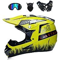 WenYan Motos Motocross Cascos y Guantes y Gafas estándar para niños ATV Quad Bicicleta go Casco de Kart