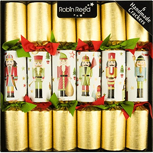 6 pc Traditional Nutcracker Christmas Crackers 680 Christmas Embossed Holly