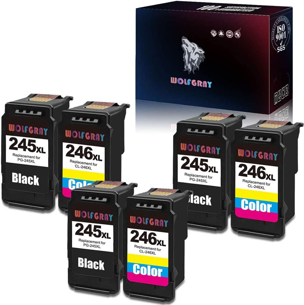 Wolfgray PG-245XL CL-246XL Ink Cartridges Compatible for Canon PG-245 CL-246 Ink Work with Canon Pixma MX492 MX490 MG2420 MG2520 MG2920 MG2522 MG2922 IP2820 MG2525 MG3022 MG3020 3 Black,3 Tri-Color
