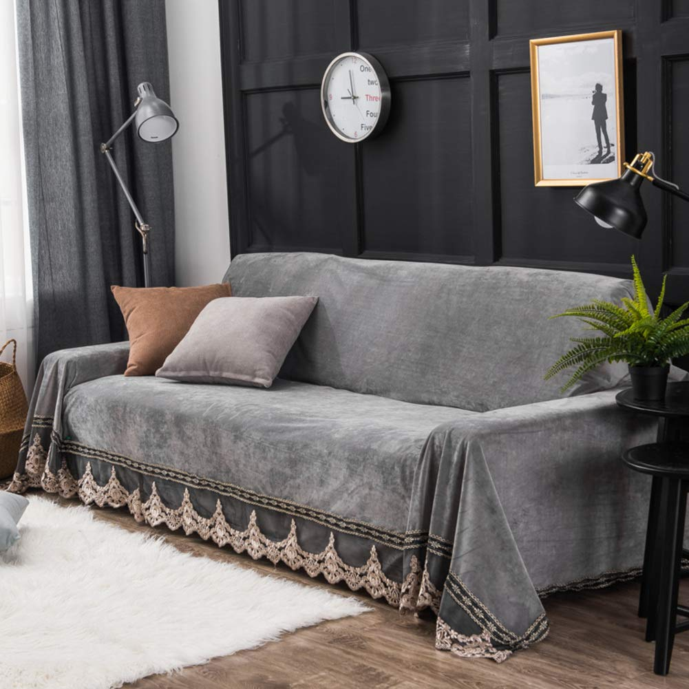 DW&HX Plush Sofa slipcover,1-Piece Vintage Lace Suede Couch Cover Anti-Slip Furniture Protector for 1 2 3 4 Cushions Sofas-Gray 200x380cm(79x150inch)
