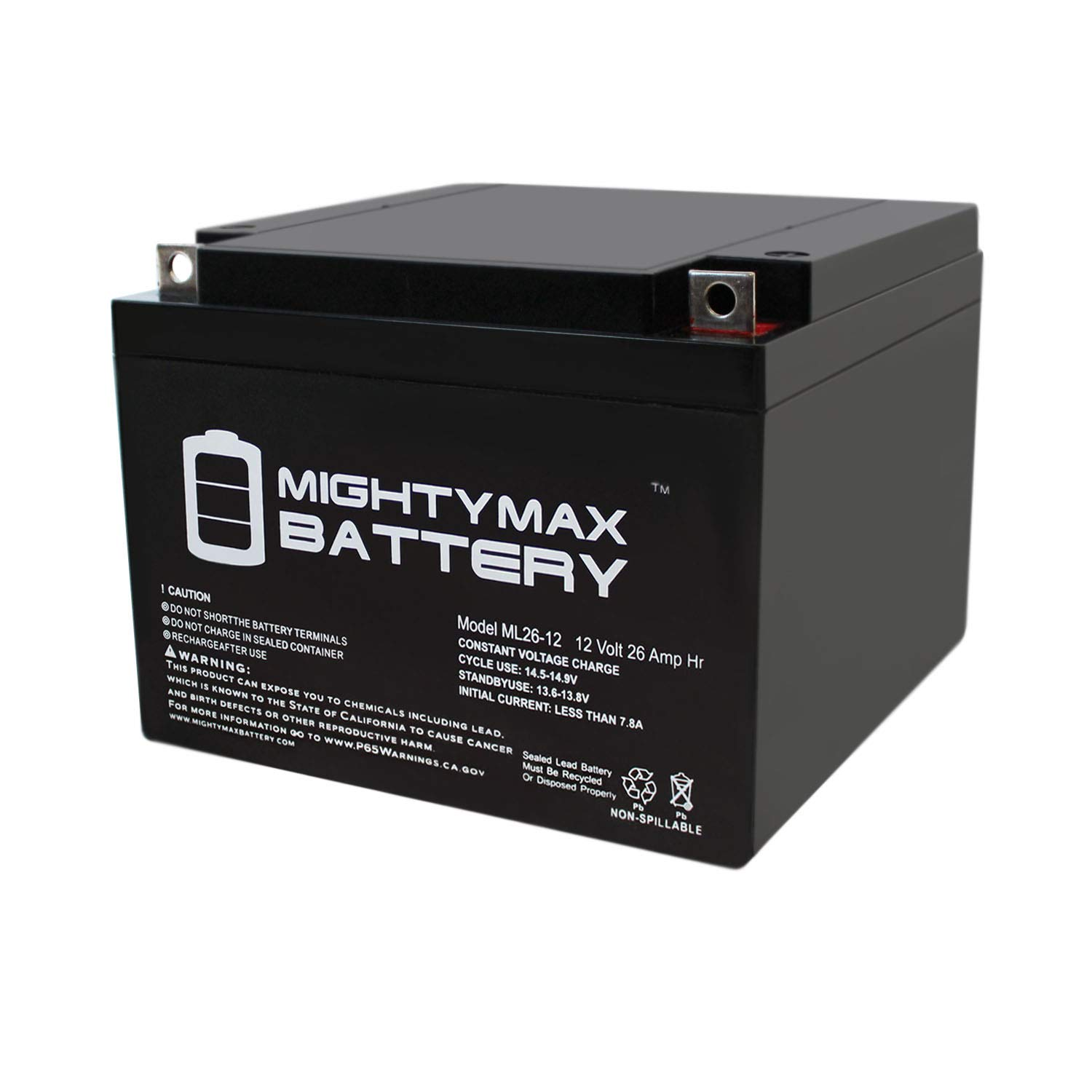Mighty Max Battery ML26-12 12V 26AH Replacement Battery for BB Battery BP28-12 Brand Product