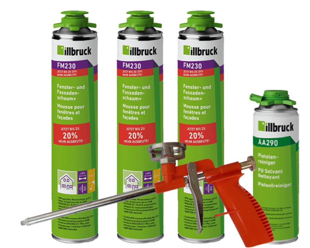 illbruck Profi Set 3 x FM230 Fenster- und Fassadenschaum+ á 880ml Dosen + illbruck AA290 Reiniger + Schaumpistole Compact tremco illbruck