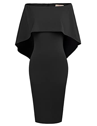 5f50b7c8717 GRACE KARIN Women s Off Shoulder Bodycon Cocktail Party Wedding Dresses  Cape Gowns Black S