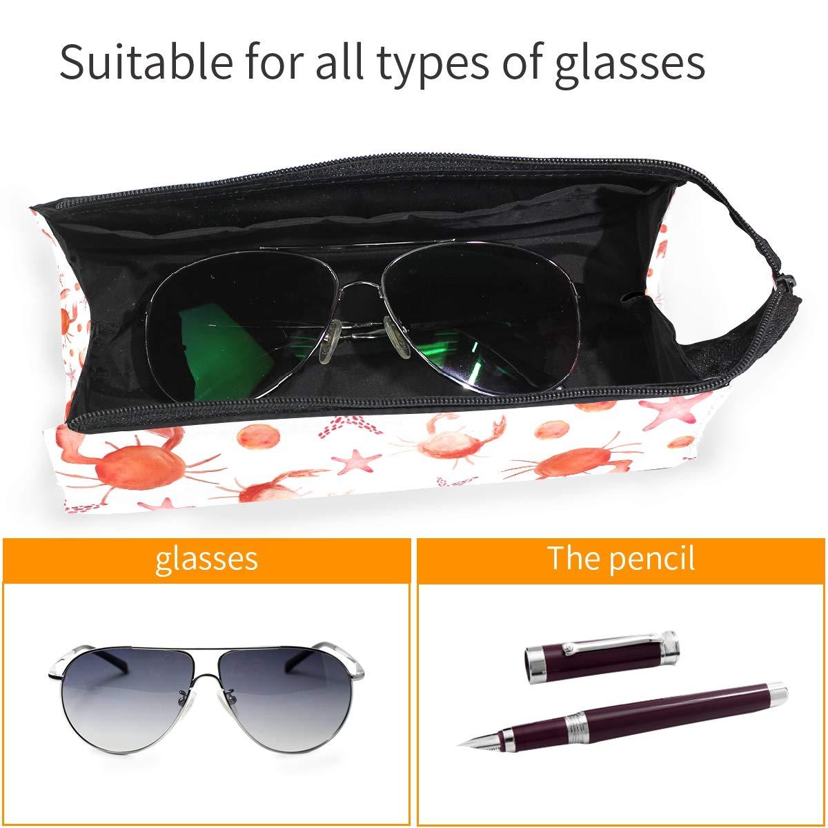 My Little Nest Eyeglass Sunglasses Holder Pouch Bag Watercolor Cute Crabs Multi Function Zipper Pen Case Pencil Bag Organizer