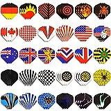 WINMAX Dart Flights 30 Sets (90 Pcs) Standard Shape National Flag Durable PET Flights for Steel Tip Darts, Perfect Accessories Equipment Supplies for Dart Games