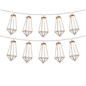 Omika Rose Gold Geometric Led Fairy Lights, USB Plug & Battery Powered, Boho Metal Led Lantern String Lights – Perfect for Multipurpose use, 10 Lights (5ft/1.8m Warm White)