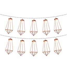 Omika Rose Gold Geometric Fairy Lights, USB & Battery Powered, 10 LED Metal Lantern String Lights for Girls Bedroom, Bridal Shower Decorations & Boho Home Decor (5ft/1.8m Warm White)