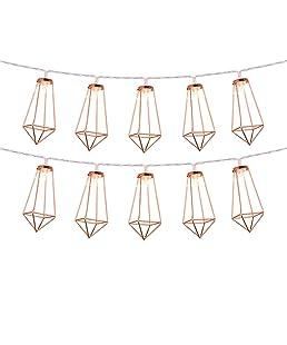 Omika Rose Gold Geometric Fairy Lights, USB & Battery Powered, 10 LED Metal Lantern String Lights for Girls Bedroom, Bridal Shower Decorations & Boho Home Decor (5ft/1.8m Warm White)