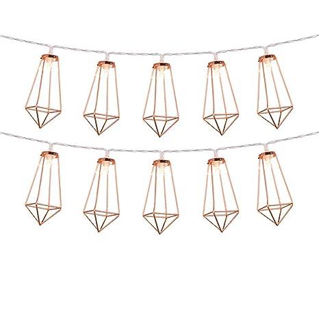 Rose Gold Geometric Boho LED luces de hadas con pilas Metal jaula linterna luces de cadena para el hogar Dormitorio Wedding Party Patio interior ...