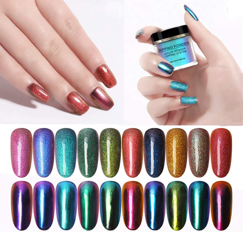 Micup 10colors Dipping Powder Starter Kit For Nail Art Chrome Mirror Acrylic Dip Powder Manicure Sets 10ml/box by Micup