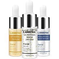 Paquete Lanbena 3 Serums Vitamina C, 6 Péptidos, Ácido Hialurónico