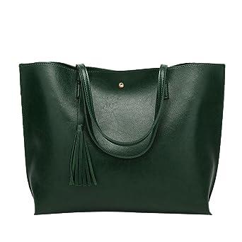 db894e8b3130c Henkeltaschen Damen Kolylong® Frauen Elegant Quasten Handtasche Vintage  Schultertasche PU-Leder Groß Shopper Umhängetasche