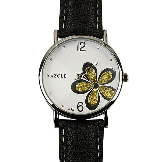 SIridescentZB Reloj Mujer Flor de Purpurina Esfera Redonda, Banda de Cuero sintético, Cuarzo analógico 5#: Amazon.es: Relojes