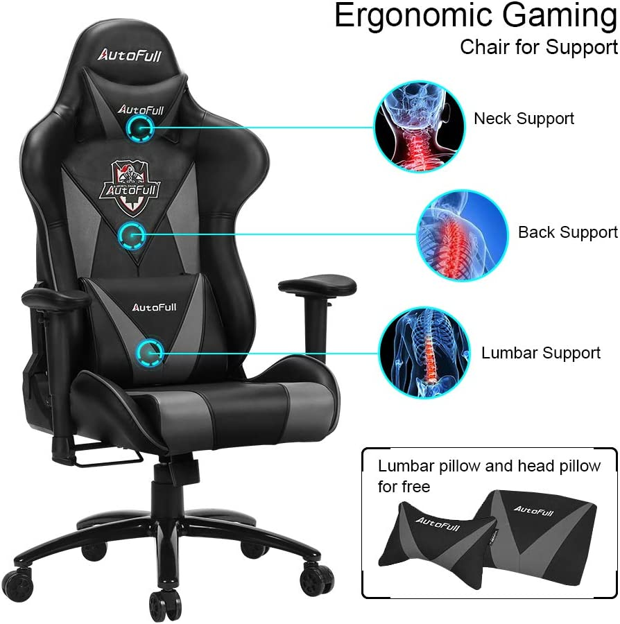 AutoFull Ergonomic Gaming Office Chair PU Leather Bucket Seat Racing Desk Grey Computer Chairs with Lumbar Support 3-Years Warranty