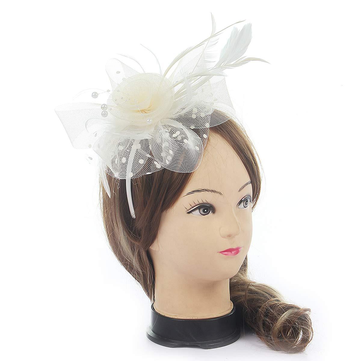 White86 MYCHARM Women Feather Mesh Net Fascinator Hat Hair Clip Cocktail Derby Race Royal Ascot