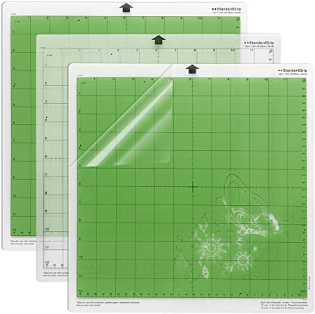 Quilting Scrapbooking 3 Pcs StandardGrip Cutting Mat for Cricut Maker Sewing Replacement Vinyl Cutting Mat for Craft 12x12 Inch Gridded Adhesive Non-Slip Cut Mat for Crafts