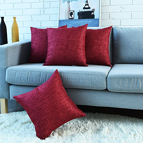 Modem Cover - SINOGEM Decorative Soft Handmade Faux Linen Throw Cushion Covers Pillow Covers for Bedroom 18 x 18 Inches with Invisible Zipper Set of 4 (Red)