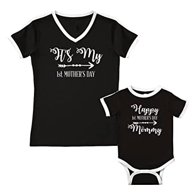 c773dfd62 Amazon.com: We Match!!!! - It's My First Mother's Day - Matching Women's  Soccer Ringer T-Shirt & Baby Bodysuit Set: Clothing