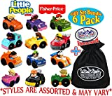Fisher-Price Little People Wheelies Vehicles Gift Set Blind Bundle with Exclusive 'Matty's Toy Stop' Storage Bag - 6 Pack (Assorted Styles)