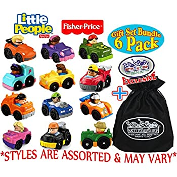 "Fisher-Price Little People Wheelies Vehicles Gift Set Blind Bundle with Exclusive ""Matty's Toy Stop"" Storage Bag - 6 Pack (Assorted Styles)"