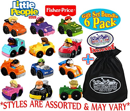 Little People Red Car - Fisher-Price Little People Wheelies Vehicles Gift Set Blind Bundle with Exclusive