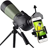 Gosky 20-60x60 HD Spotting Scope with Tripod, Carrying Bag and Scope Phone Adapter - BAK4 45 Degree Angled Eyepiece…