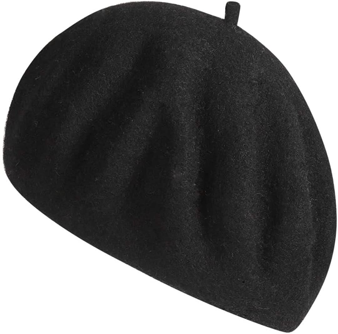 Wool Newsboy Gatsby Classic Hat Cap Solid Color Womens French Beret Black