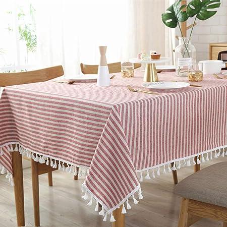 WENEE Manteles Tiras Mantel con Bolas Blancas Mantel Rectangular con Borla Mantel de Lino de algodón Mantel para el hogar Cena Cubierta de Mesa de té, Tiras Rojas, 120 * 160 cm: